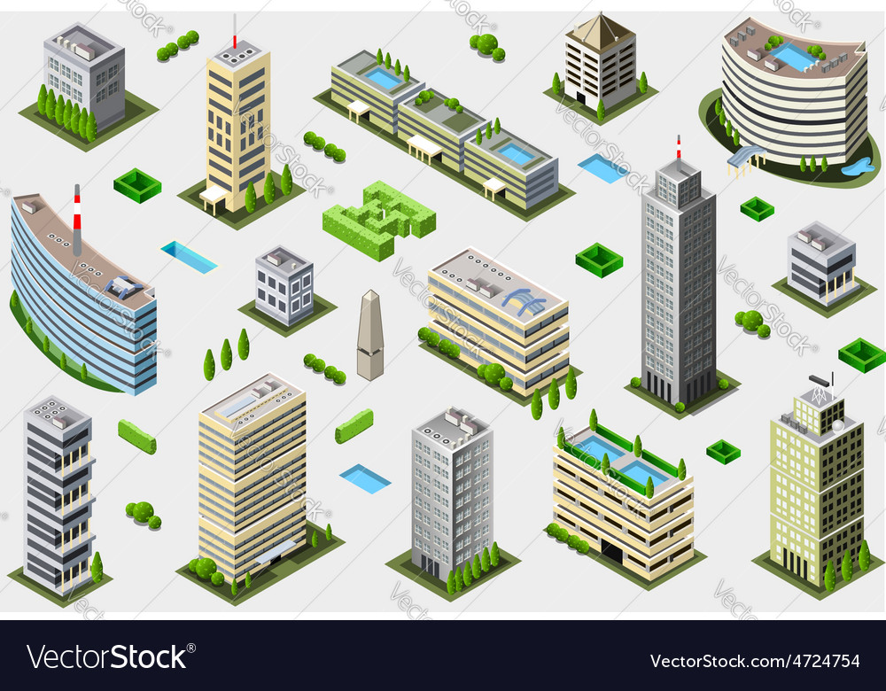 Isometric megalopolis building set vector | Price: 1 Credit (USD $1)