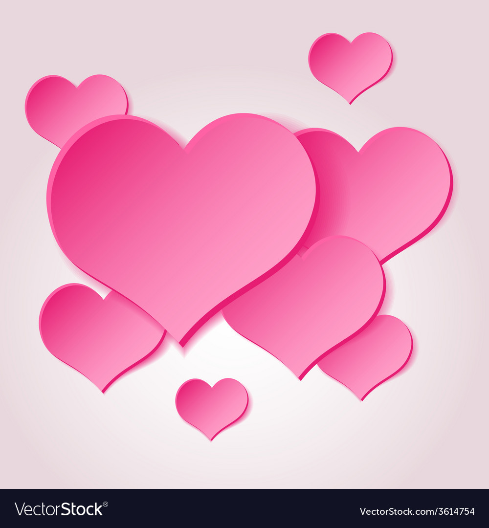Pink valentine hearths from paper decoration vector | Price: 1 Credit (USD $1)