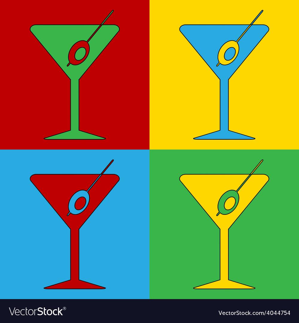 Pop art martini glass icons vector | Price: 1 Credit (USD $1)