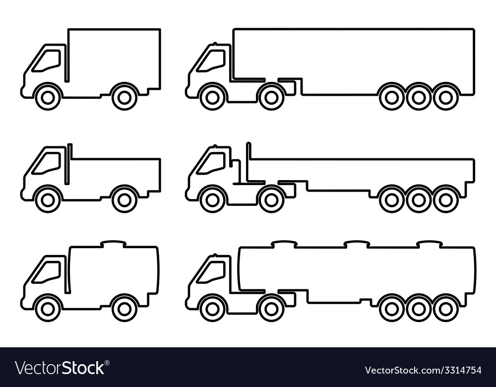 Set of silhouettes the cargo trucks vector   Price: 1 Credit (USD $1)