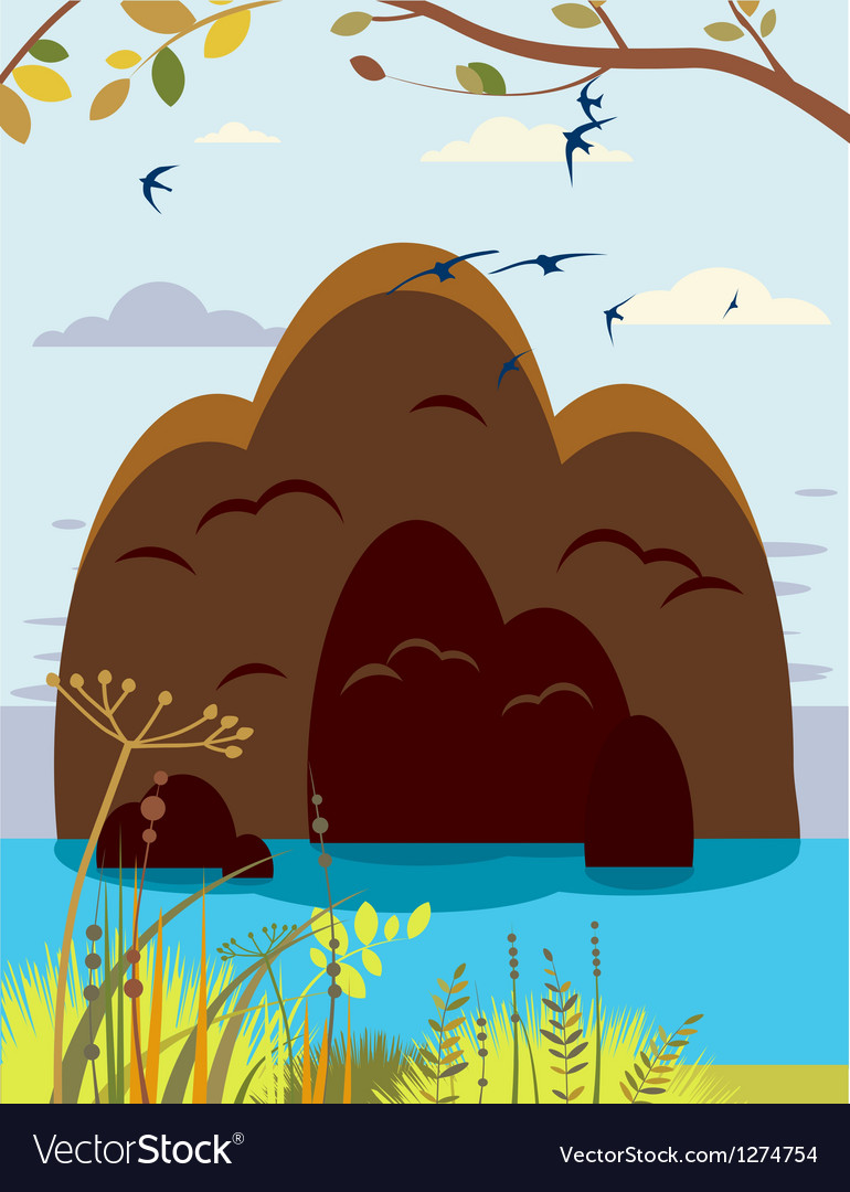 Summer island landscape vector | Price: 1 Credit (USD $1)