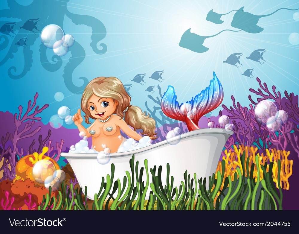 A bathtub under the sea with a mermaid vector   Price: 3 Credit (USD $3)