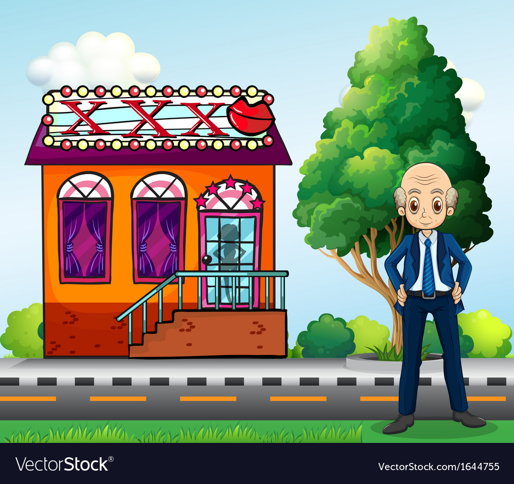 An old man standing in front of a club vector