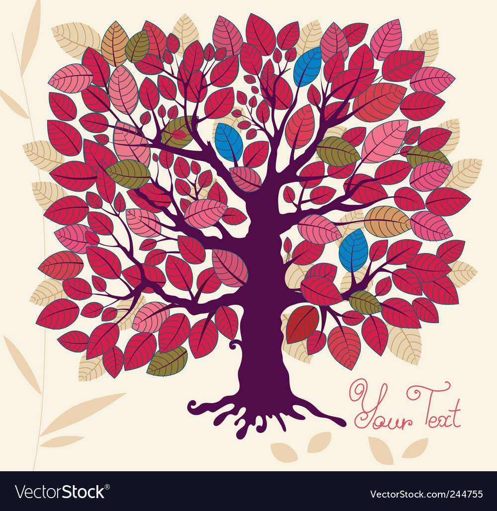 Autumn tree with foliage vector | Price: 1 Credit (USD $1)