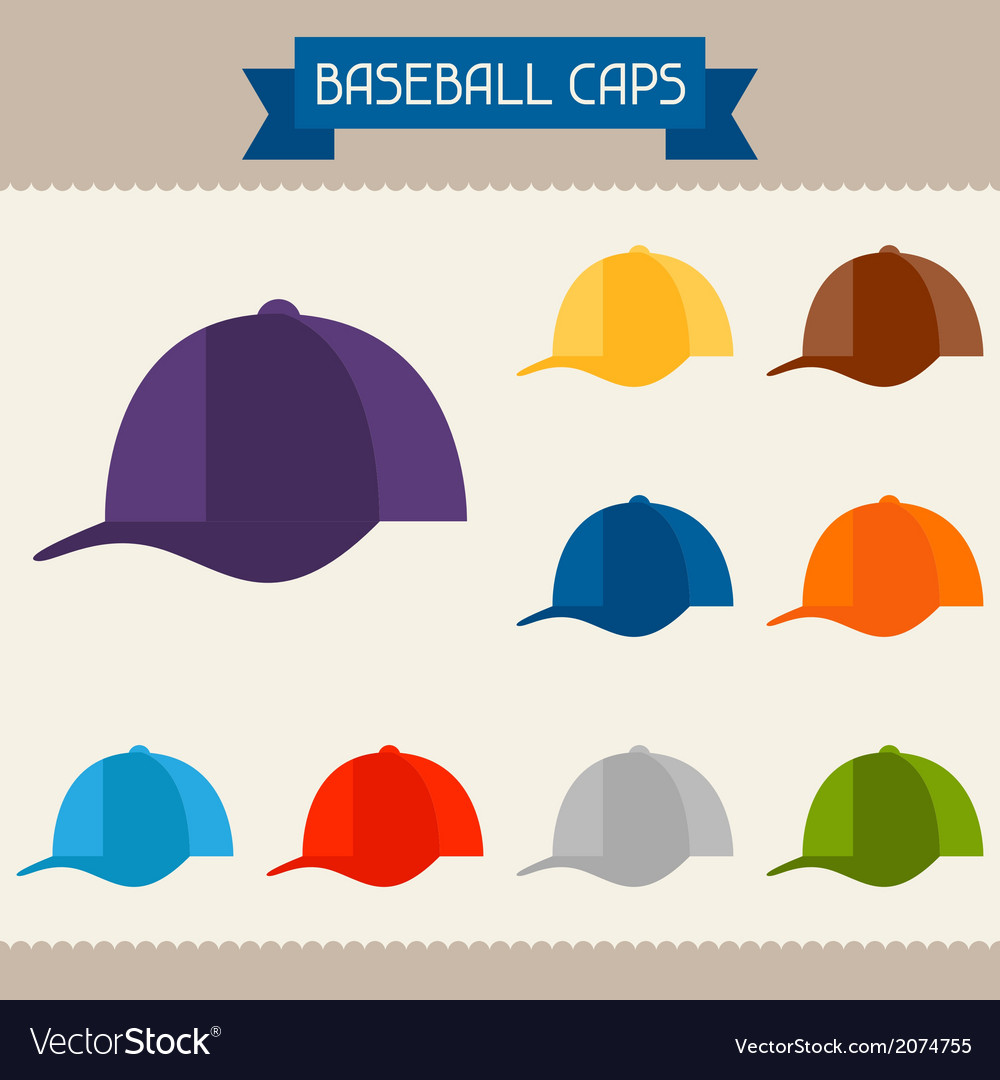 Baseball caps colored templates for your design in vector | Price: 1 Credit (USD $1)
