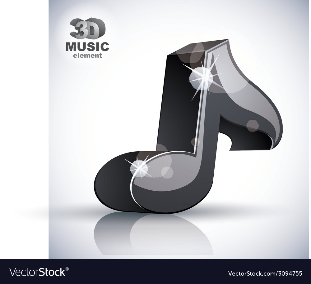 Black musical note 3d modern icon isolated vector | Price: 1 Credit (USD $1)