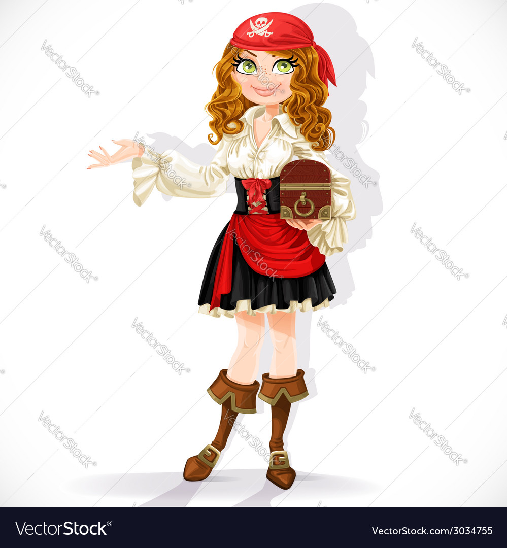 Cute pirate girl with chest vector | Price: 3 Credit (USD $3)