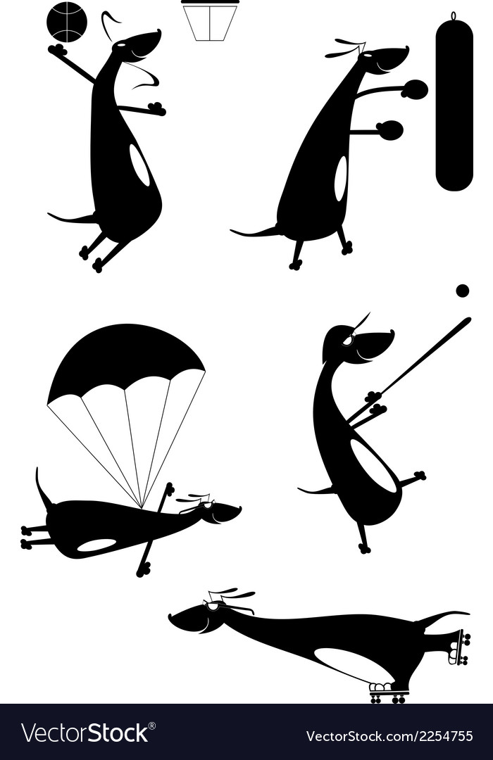 Dachshund fun silhouette vector | Price: 1 Credit (USD $1)