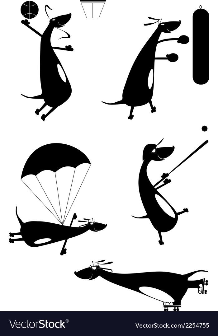 Dachshund fun silhouette vector | Price: 1 Credit (USD $1)