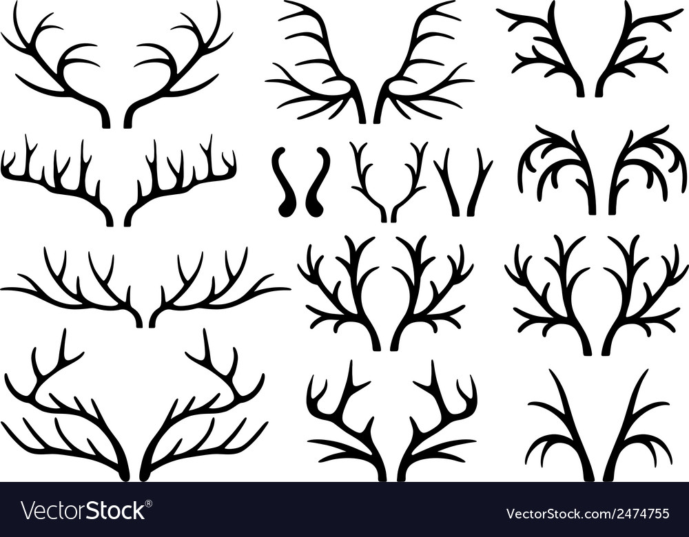 Deer antlers black silhouettes vector | Price: 1 Credit (USD $1)
