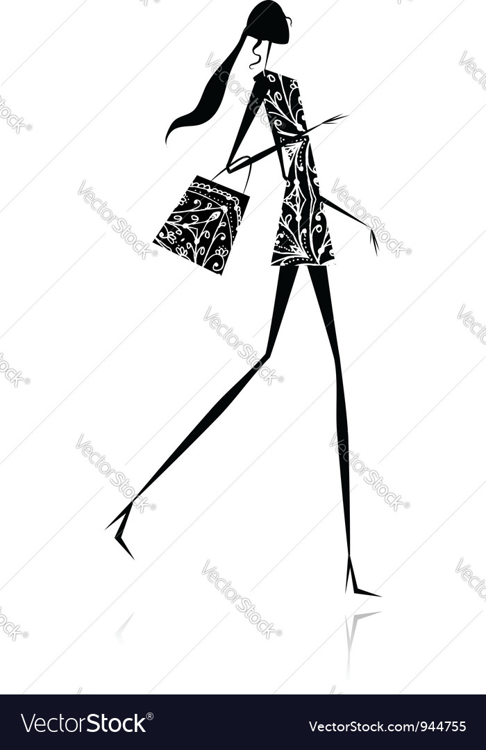 Fashion girl silhouette with shopping bag vector | Price: 1 Credit (USD $1)