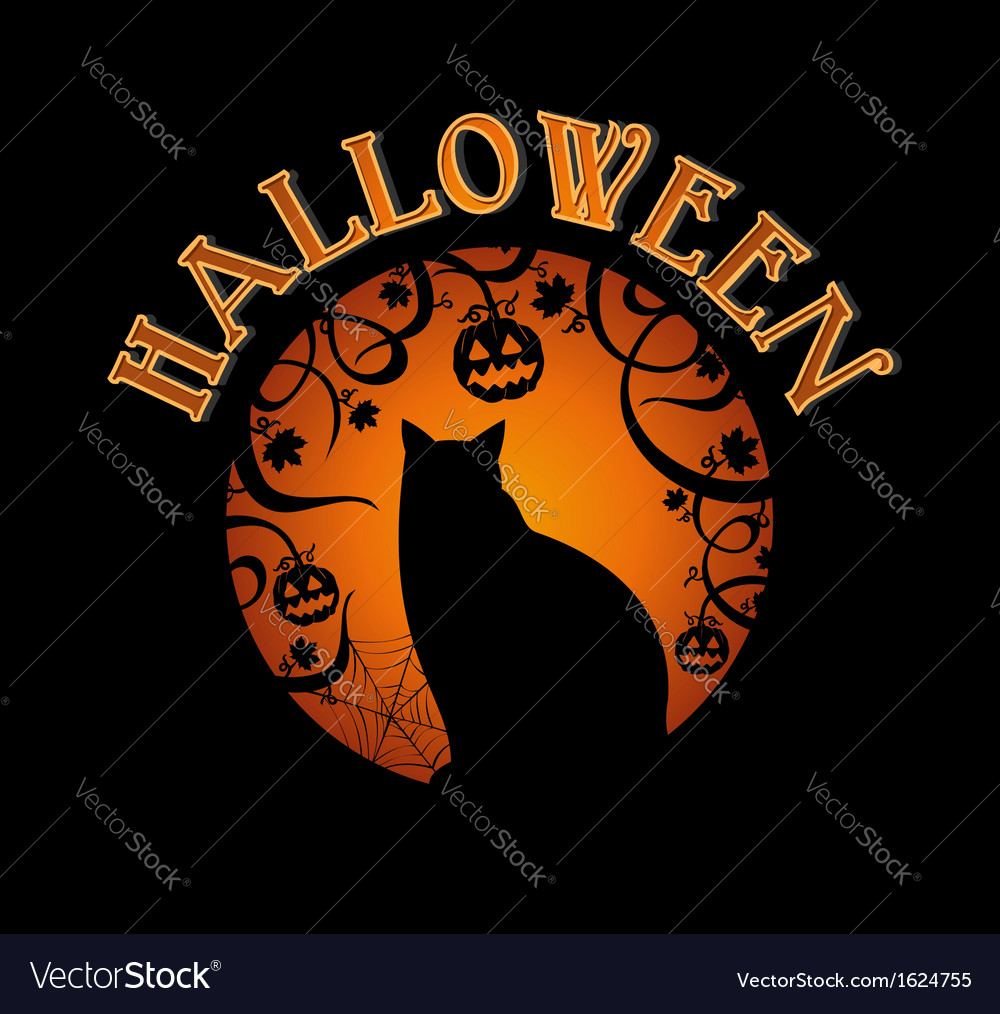 Happy halloween text spooky forest and black cat vector | Price: 1 Credit (USD $1)