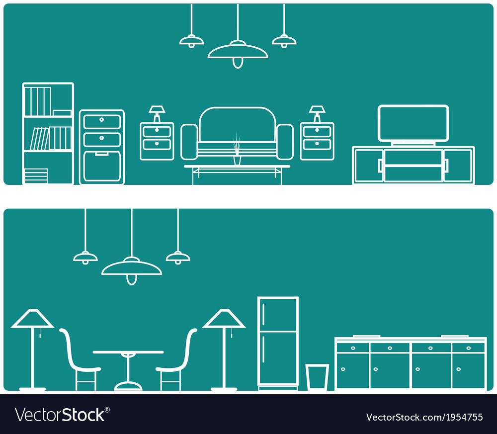 Interior banner set with furniture vector | Price: 1 Credit (USD $1)