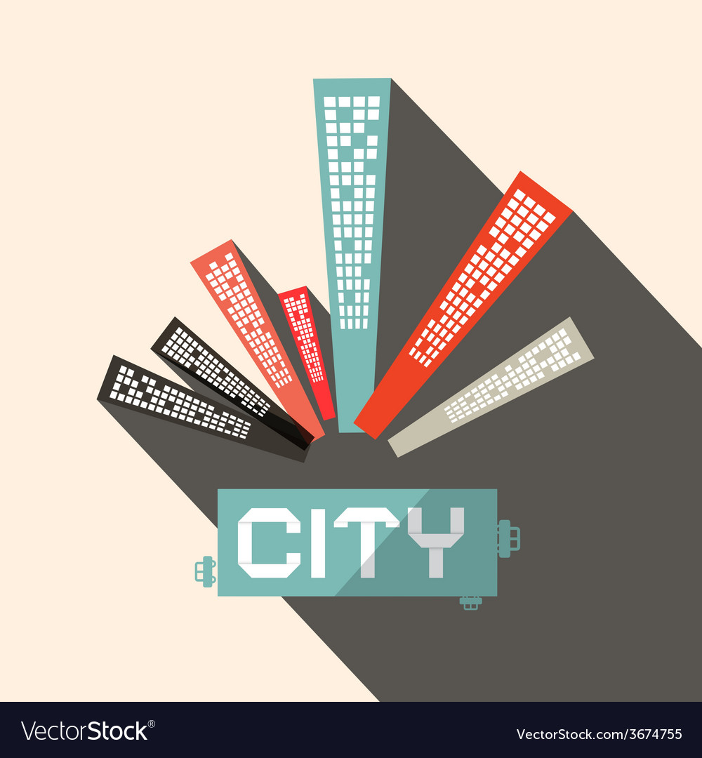 Long shadow flat design city vector | Price: 1 Credit (USD $1)