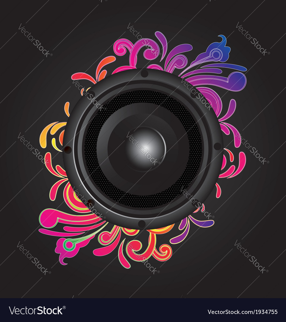 My speaker with flower behind vector | Price: 1 Credit (USD $1)