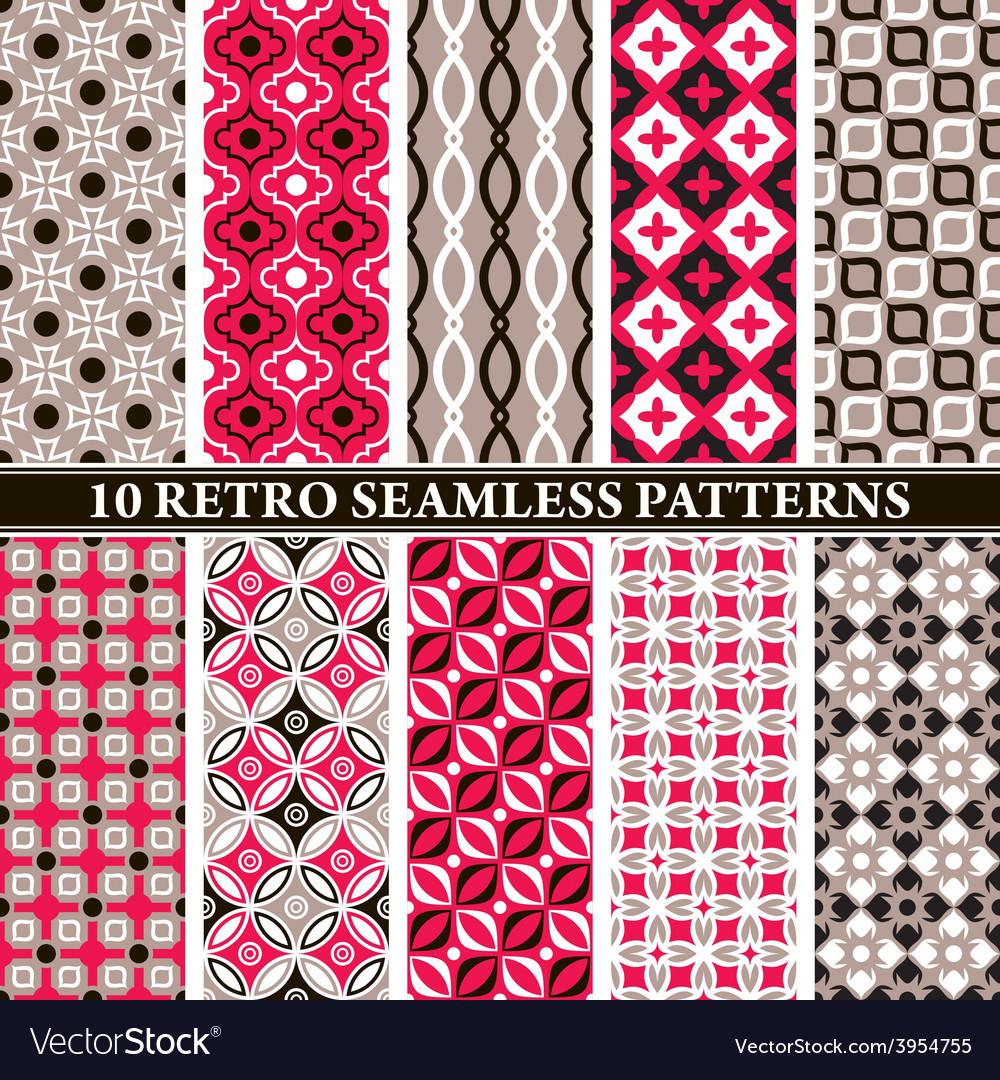 Set of 10 retro seamless patterns vector