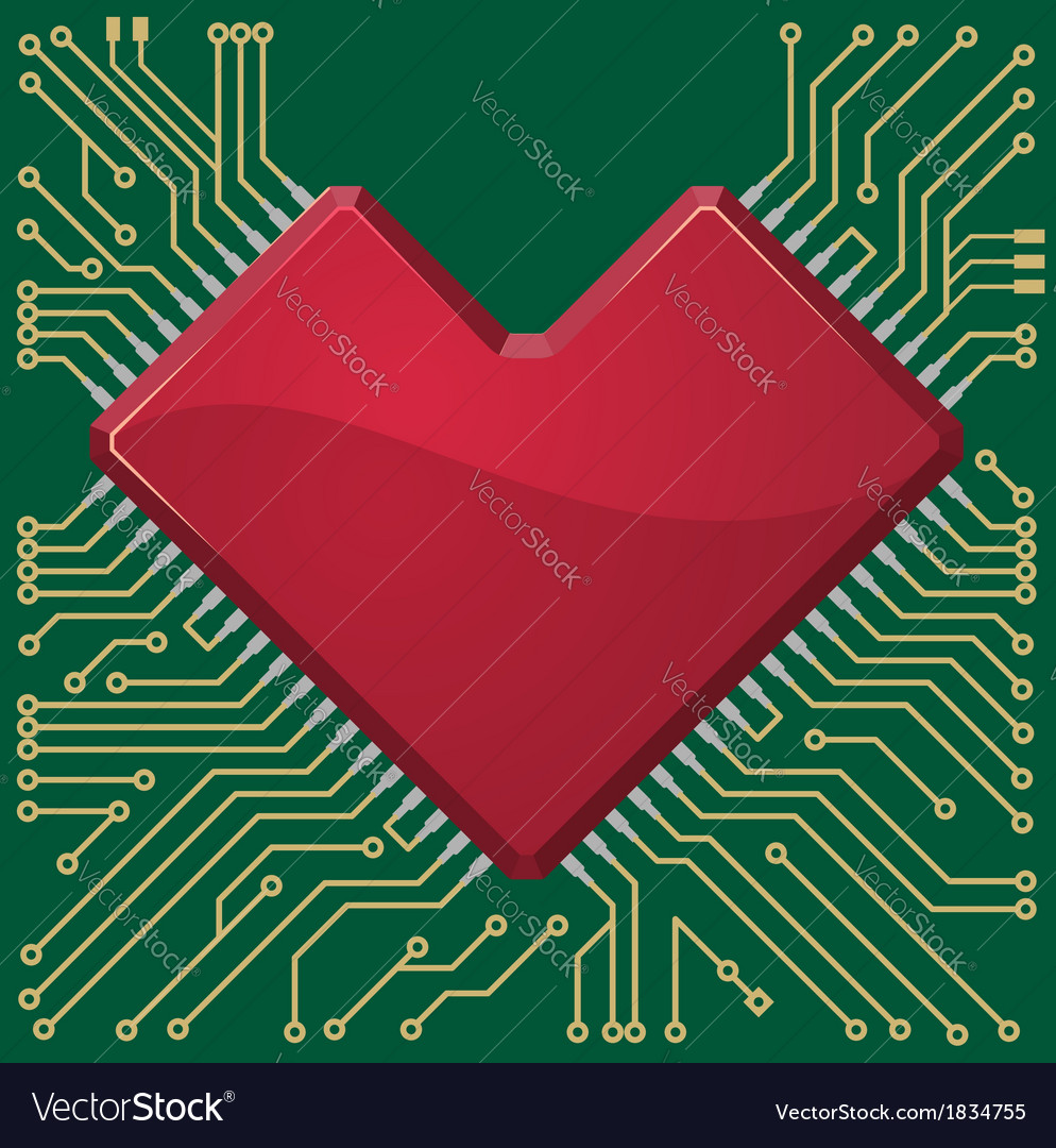Stylized red heart shape on a circuit board vector | Price: 1 Credit (USD $1)