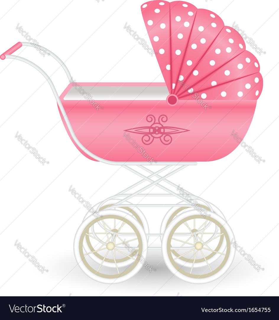 Sweet pink pram isolated on white vector | Price: 1 Credit (USD $1)