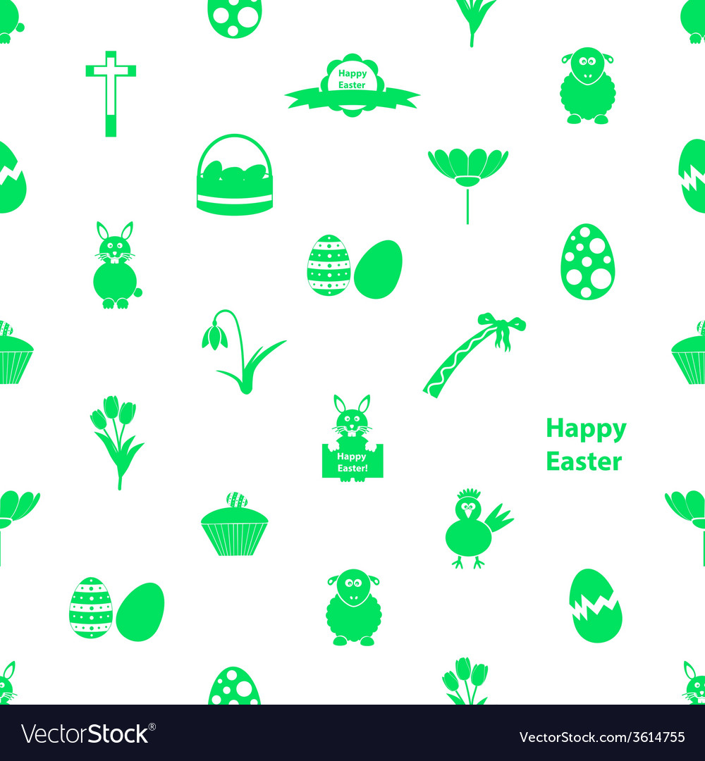 Various easter icons seamless white and green vector | Price: 1 Credit (USD $1)