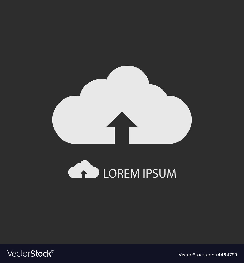 White cloud with uploading sign as logo on dark vector | Price: 1 Credit (USD $1)