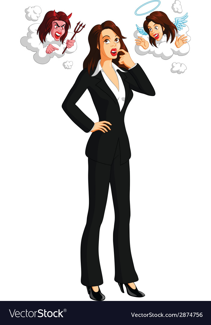 Businesswoman pondering vector | Price: 1 Credit (USD $1)