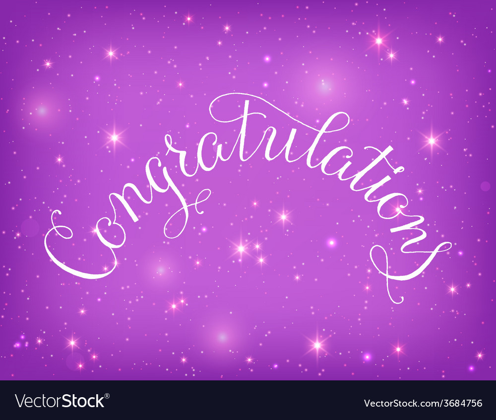 Congratulations lettering hand written design on a vector | Price: 1 Credit (USD $1)