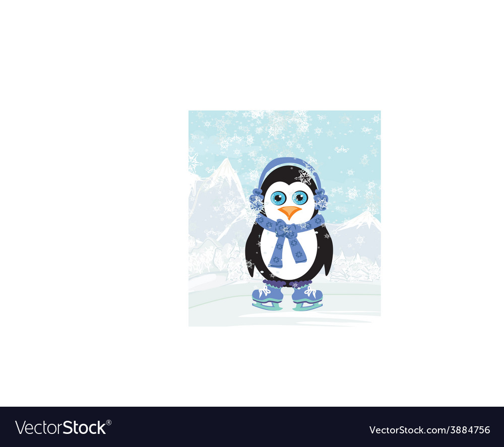 Cute penguin ice skates vector | Price: 1 Credit (USD $1)