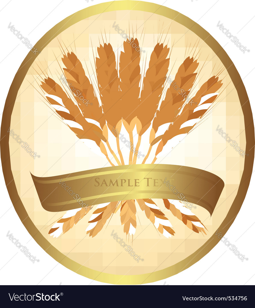 Ears of wheat and ribbons vector | Price: 1 Credit (USD $1)