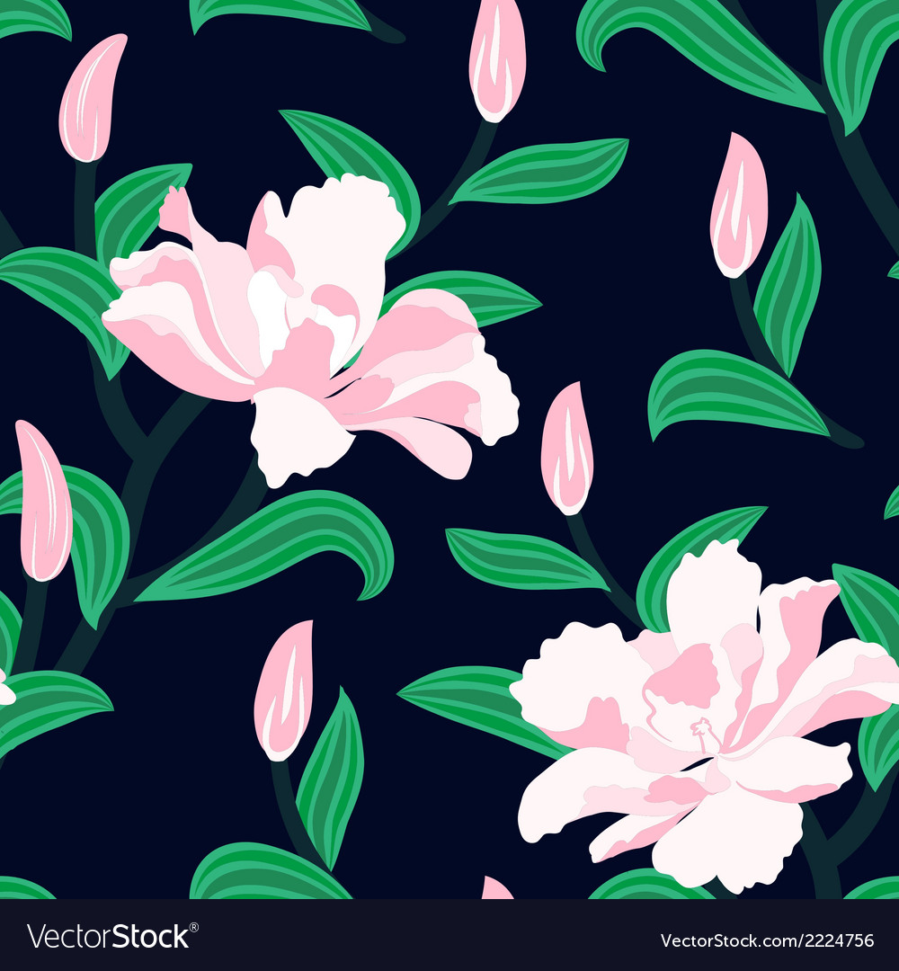 Floral seamless pattern with peony flowers vector   Price: 1 Credit (USD $1)
