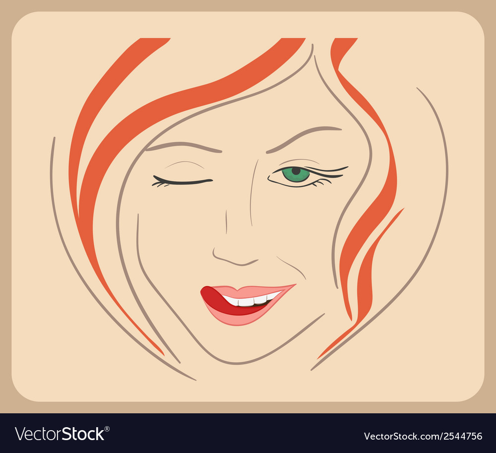Handdrawn woman face winks with red hair and green vector | Price: 1 Credit (USD $1)