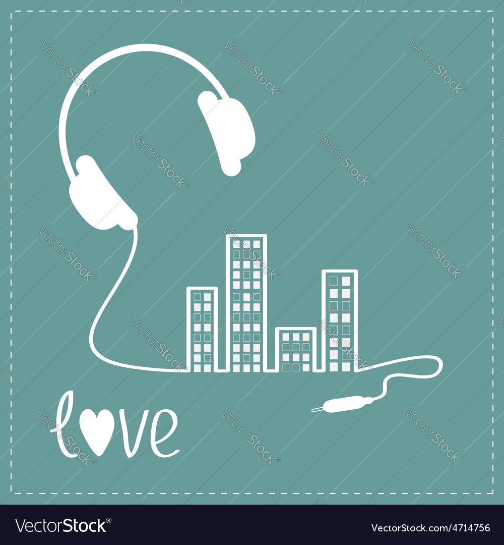Headphones cord in shape of equalizer building vector | Price: 1 Credit (USD $1)