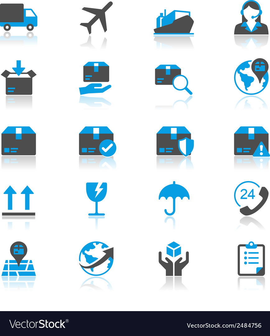 Logistics and shipping flat with reflection icons vector | Price: 1 Credit (USD $1)