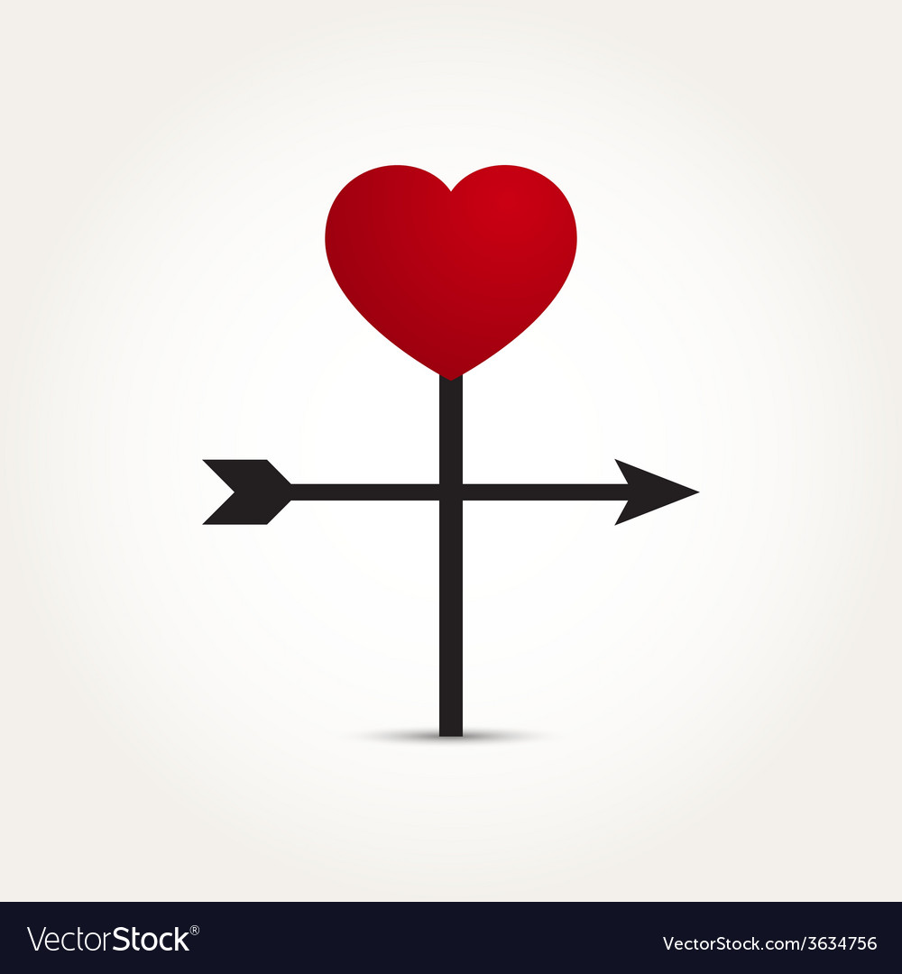 Love heart direction arrow vector | Price: 1 Credit (USD $1)