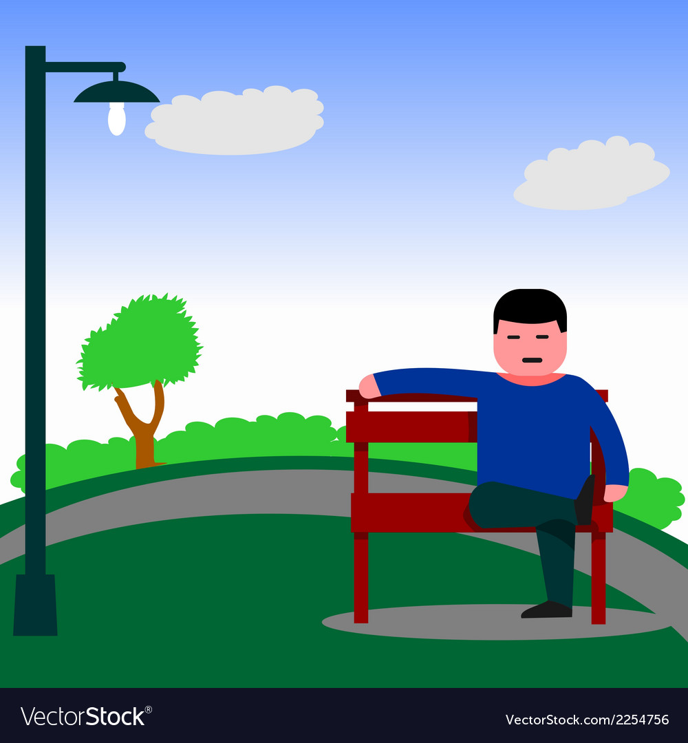 Man sitting on the bench vector | Price: 1 Credit (USD $1)