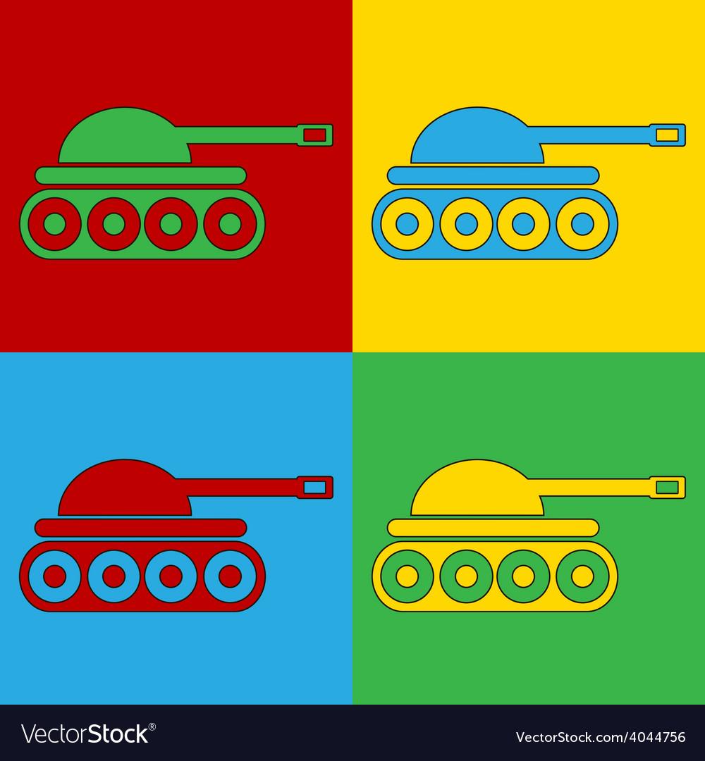 Pop art panzer icons vector | Price: 1 Credit (USD $1)