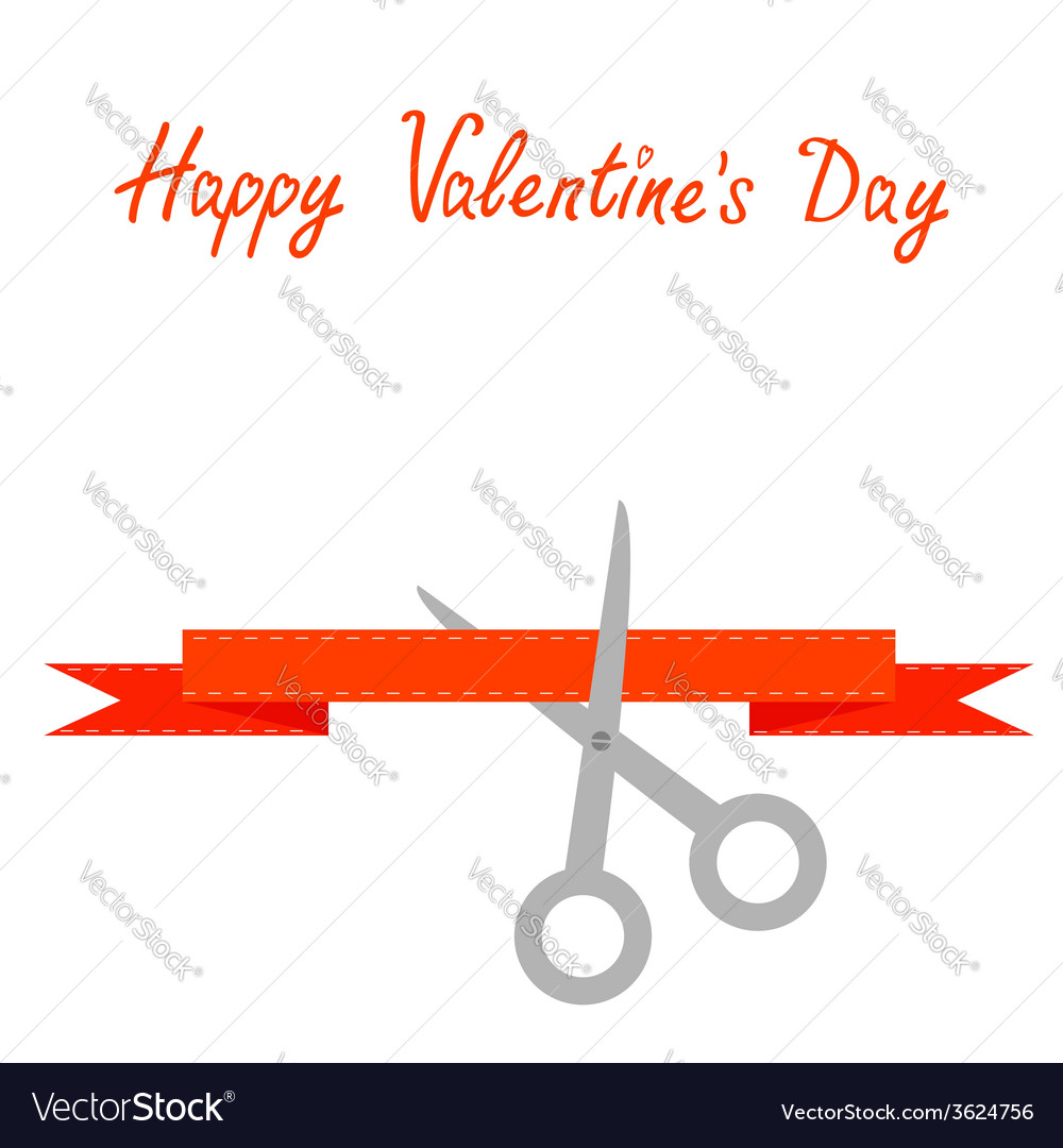 Scissors cut decorative red ribbon valentines day vector | Price: 1 Credit (USD $1)