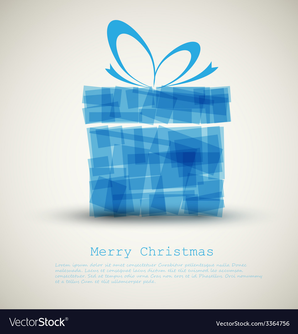 Simple christmas card with a blue gift vector | Price: 1 Credit (USD $1)