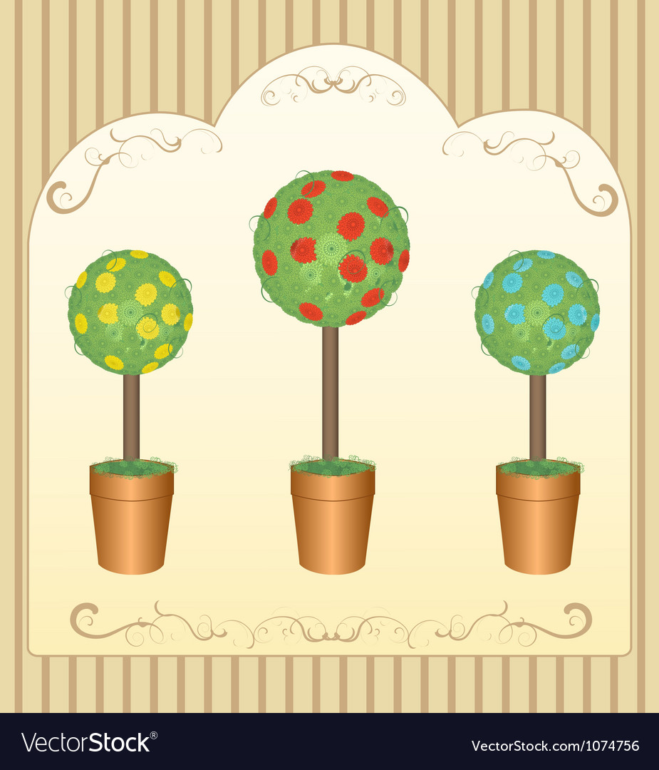 Three round floral tree vector | Price: 1 Credit (USD $1)
