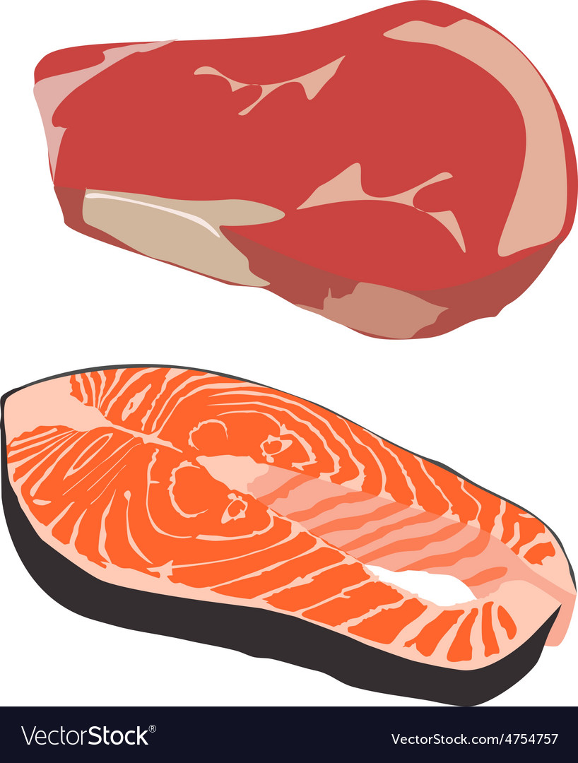 Beef and salmon steak vector | Price: 1 Credit (USD $1)