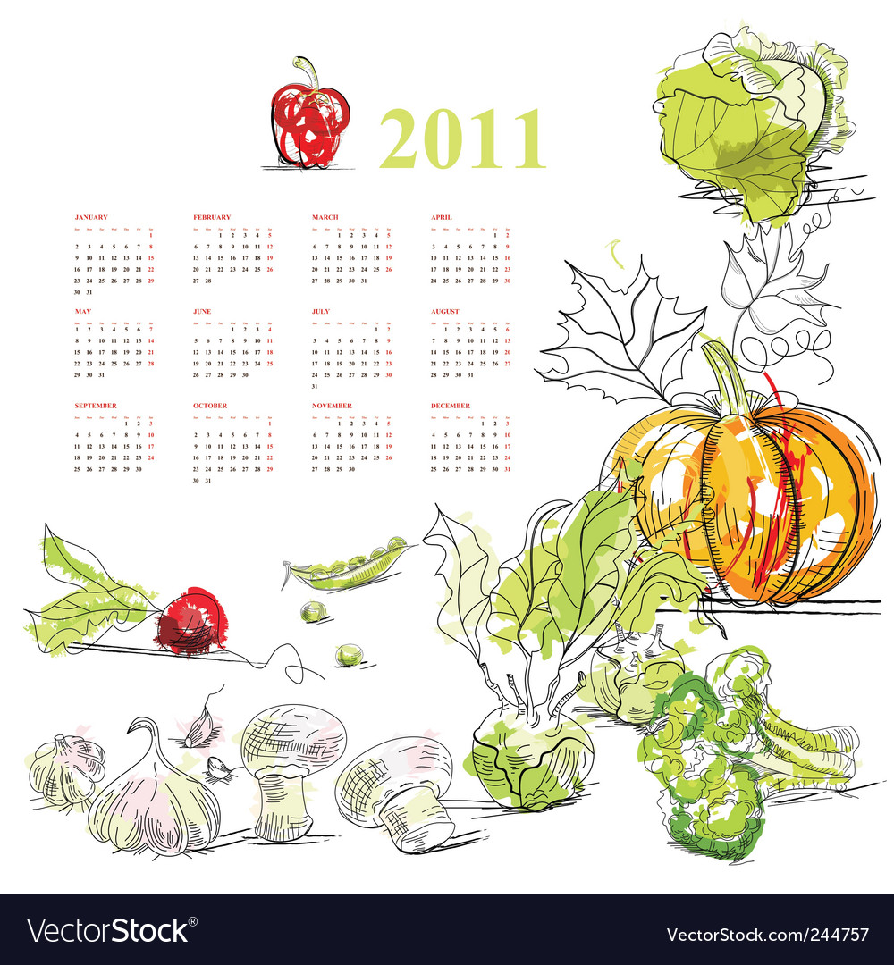 Calendar for 2011 with vegetable vector | Price: 1 Credit (USD $1)