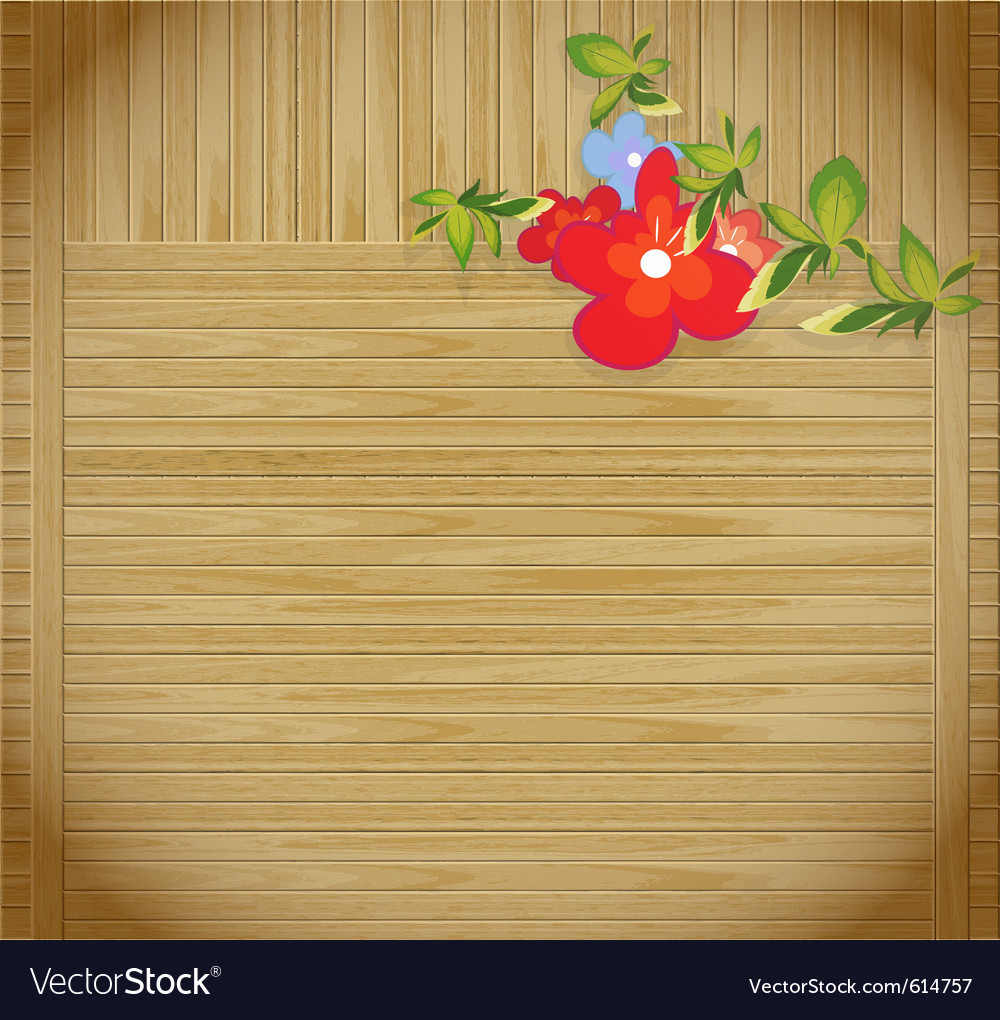 Flowers on wooden background with p vector | Price: 1 Credit (USD $1)