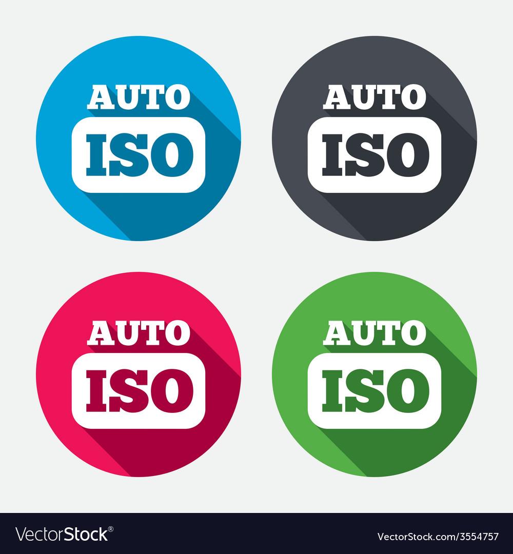 Iso auto photo camera sign icon settings symbol vector | Price: 1 Credit (USD $1)