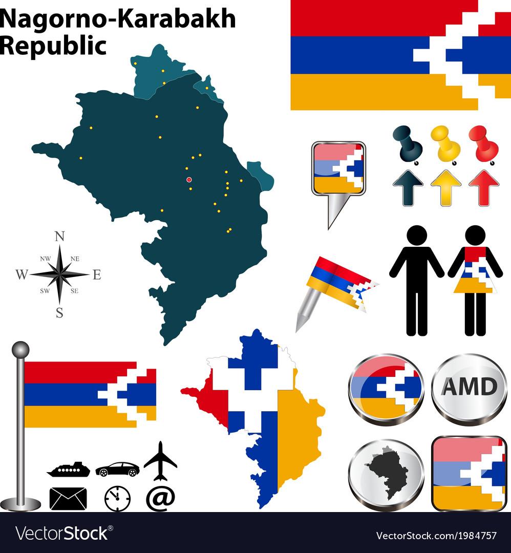 Nagorno karabakh republic map vector | Price: 1 Credit (USD $1)