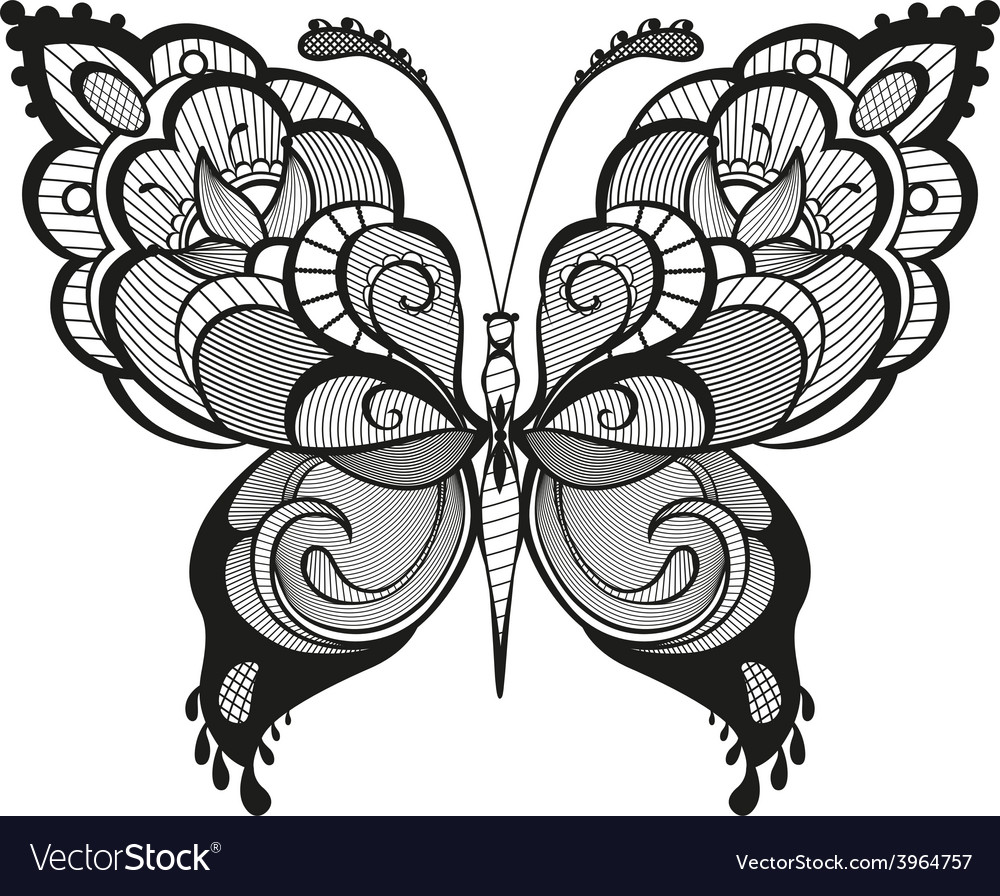 Ornamented abstract butterfly vector   Price: 1 Credit (USD $1)