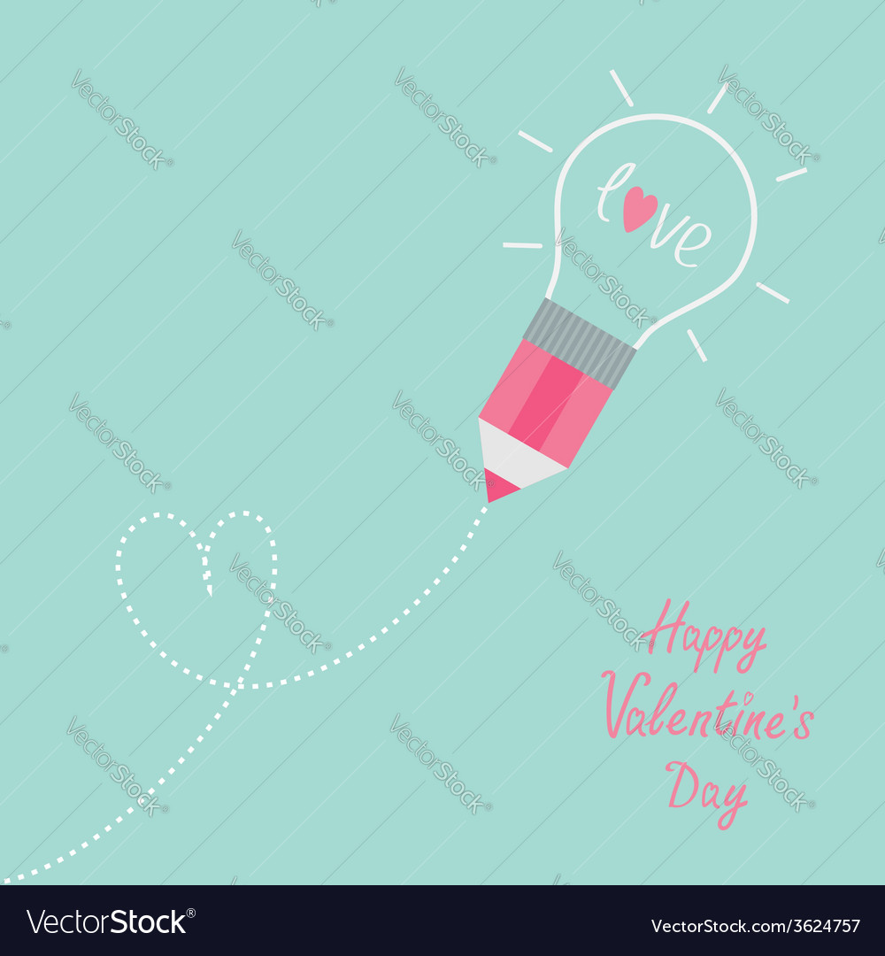 Pencil with light bulb word love dash line heart vector | Price: 1 Credit (USD $1)