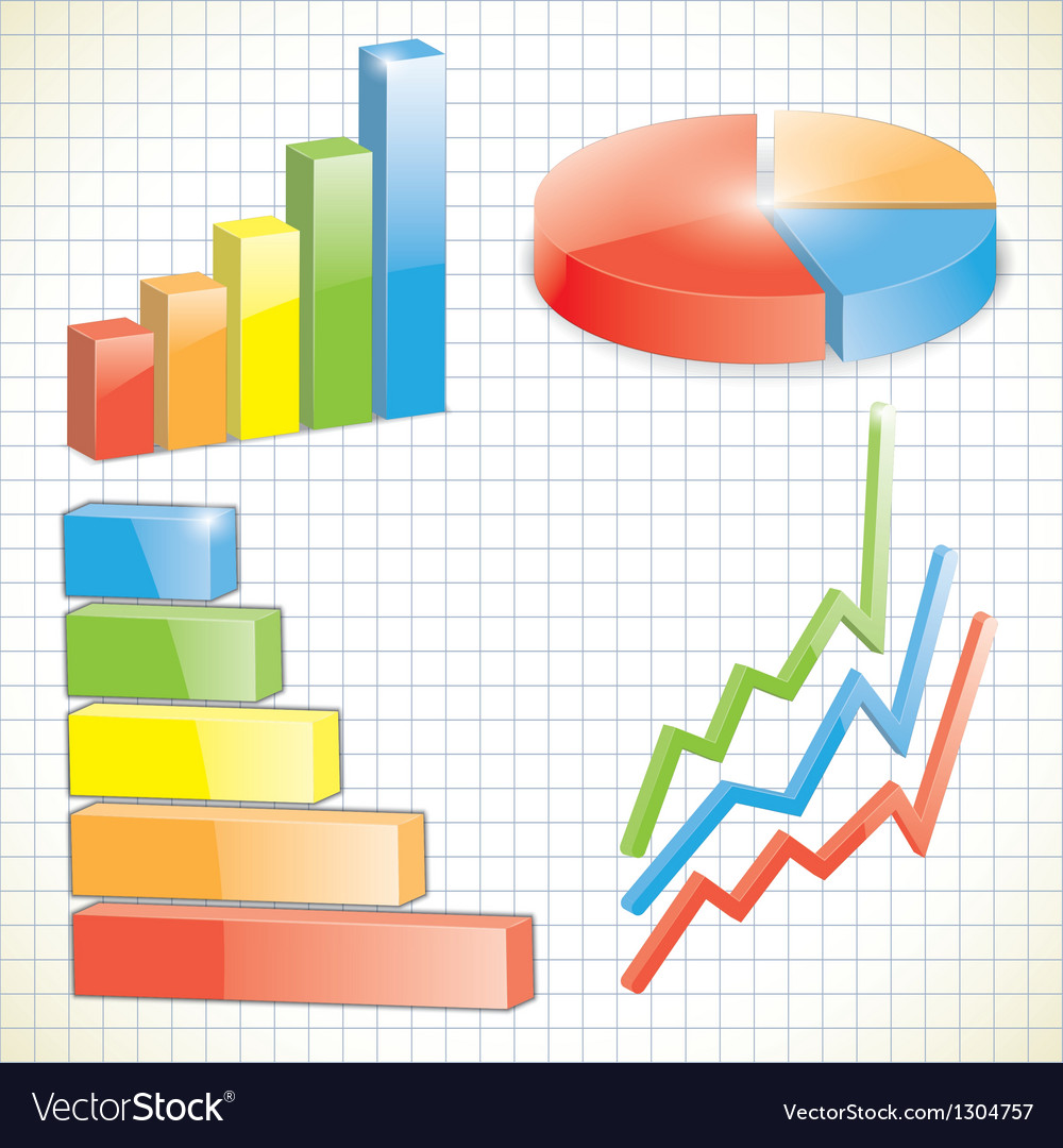 Set of business charts vector | Price: 1 Credit (USD $1)