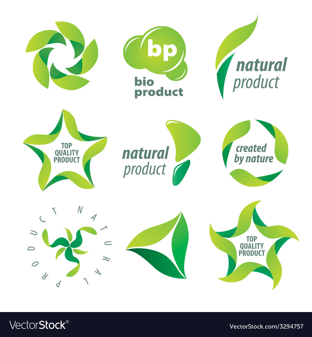 Set of logos for organic natural products vector | Price: 1 Credit (USD $1)