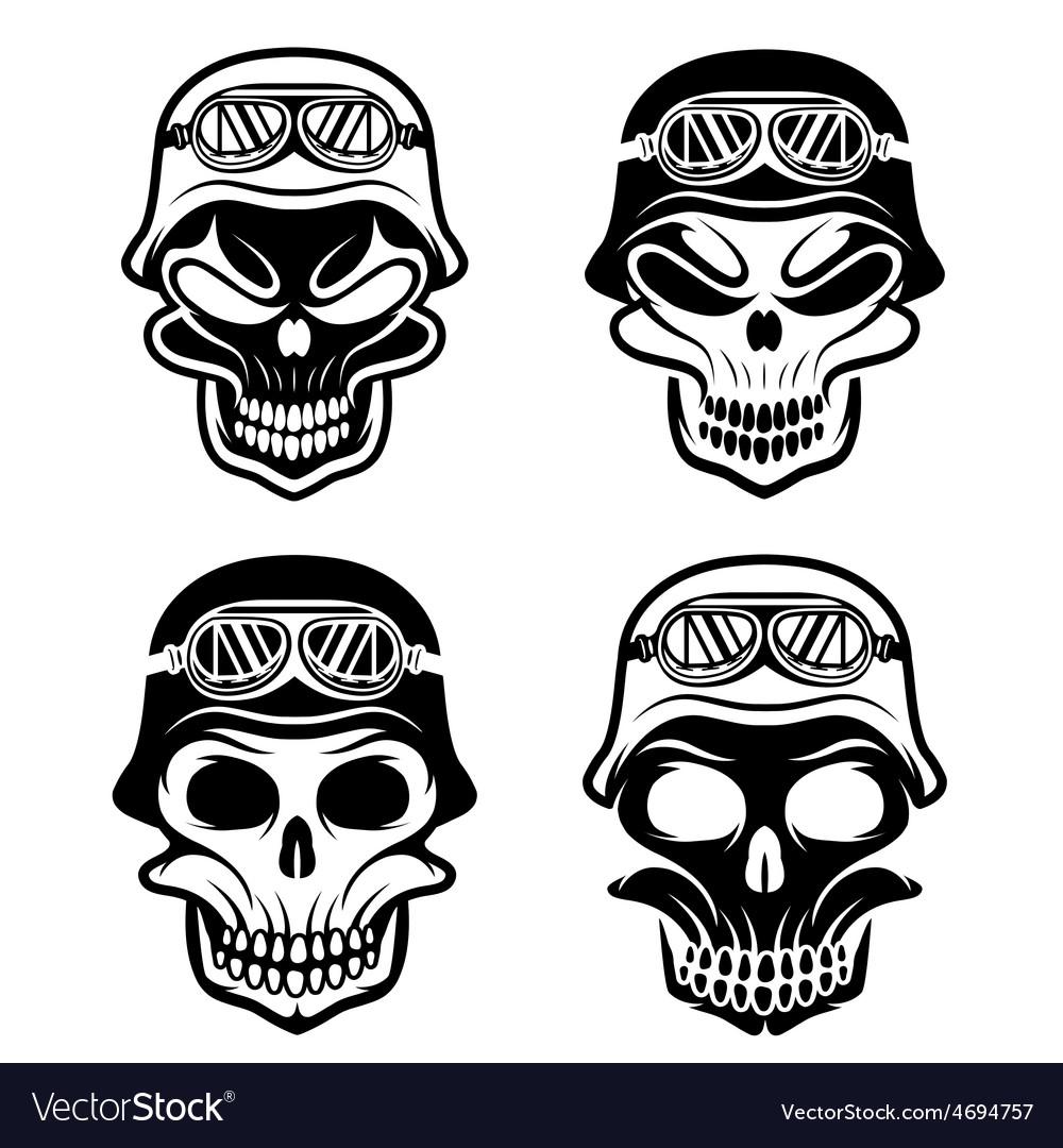 Skull in helmet set biker theme design template vector | Price: 1 Credit (USD $1)