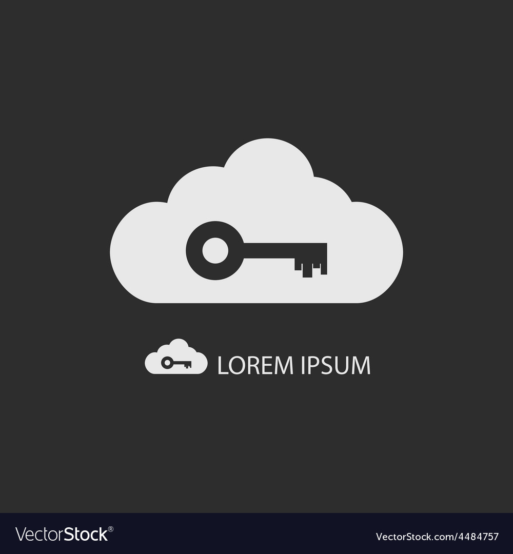 White cloud with key on dark grey vector | Price: 1 Credit (USD $1)