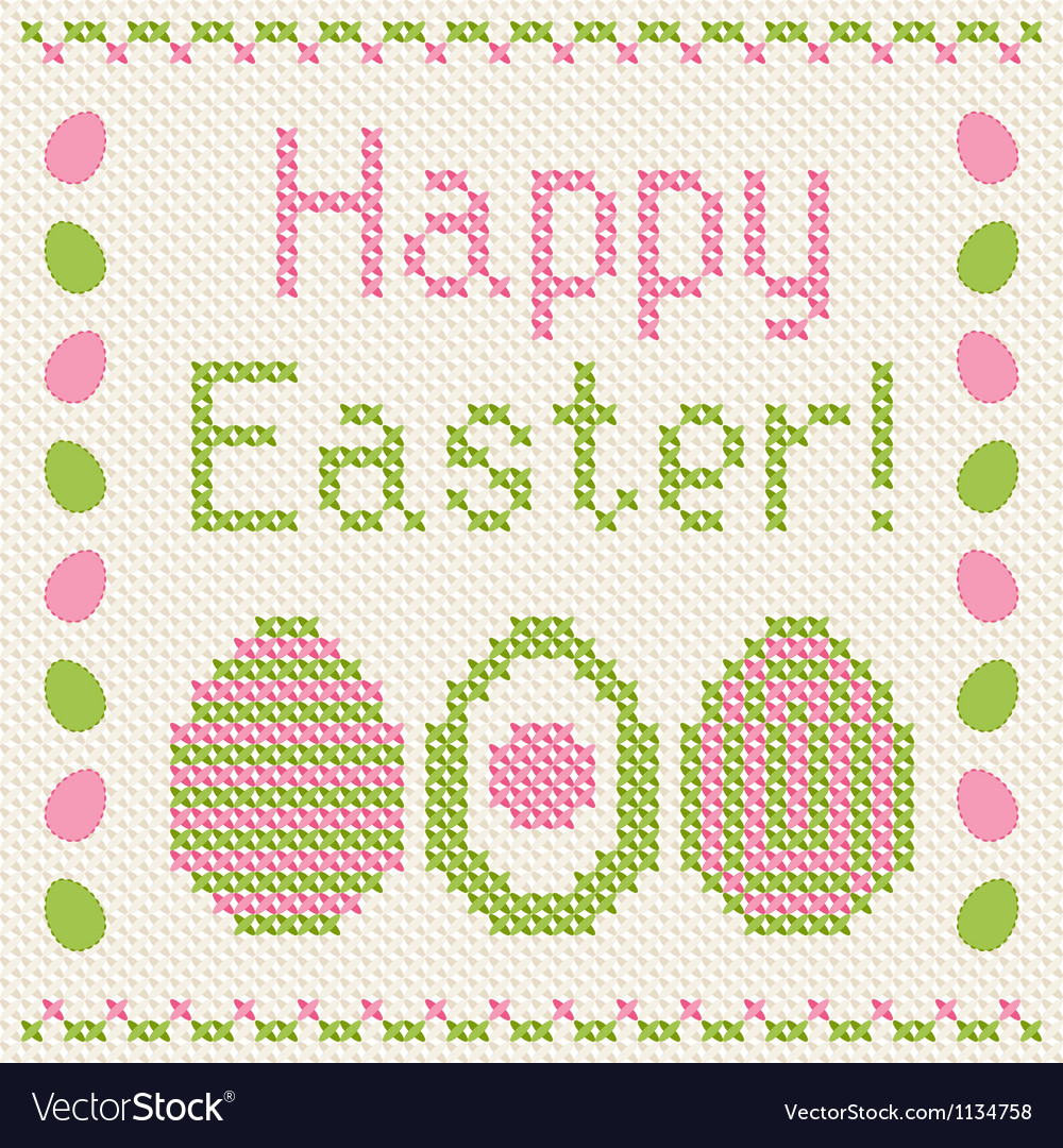 Happy easter embroidery cross-stitch greeting card vector | Price: 1 Credit (USD $1)